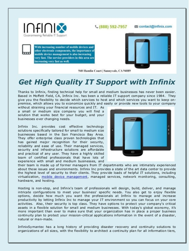 Get High Quality IT Support with Infinix Thanks to Infinix, finding technical help for small and medium businesses has nev...
