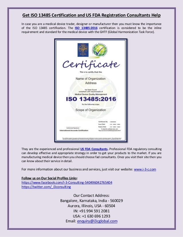 Get Iso 13485 Certification And Us Fda Registration Consultants Help