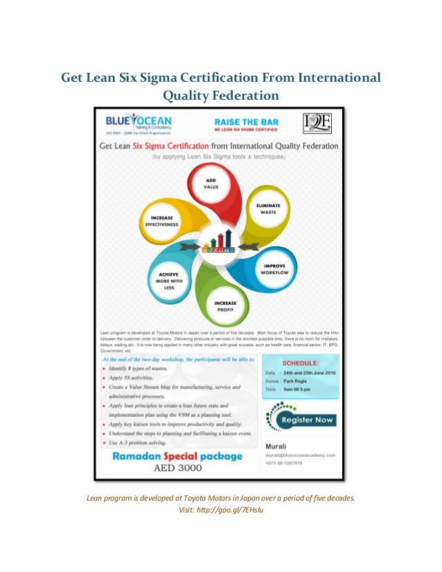Get Lean Six Sigma Certification From International Quality Federation
