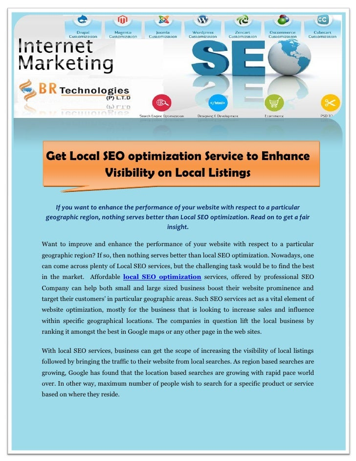 Get Local SEO optimization Service to Enhance           Visibility on Local Listings    If you want to enhance the perform...
