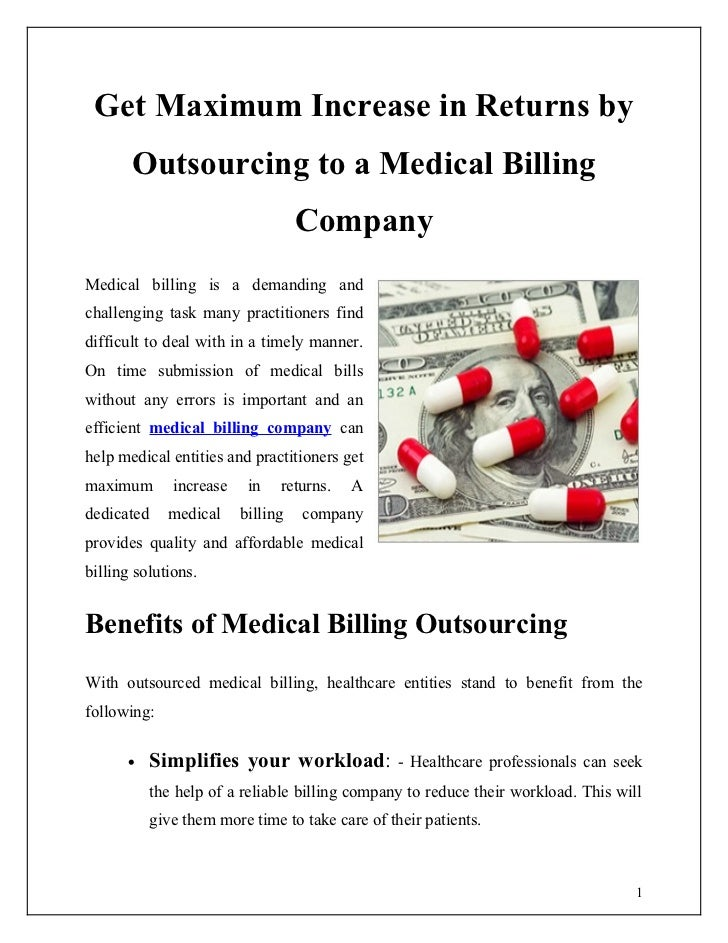 Get Maximum Increase in Returns by       Outsourcing to a Medical Billing                                    CompanyMedica...