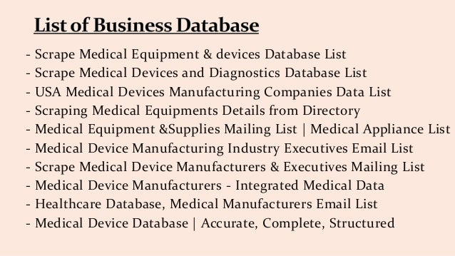 Get medical equipment manufacturers data list