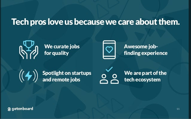 Techprosloveusbecausewecareaboutthem. 11 We curate jobs for quality Awesome job- finding experience Spotlight on startups ...