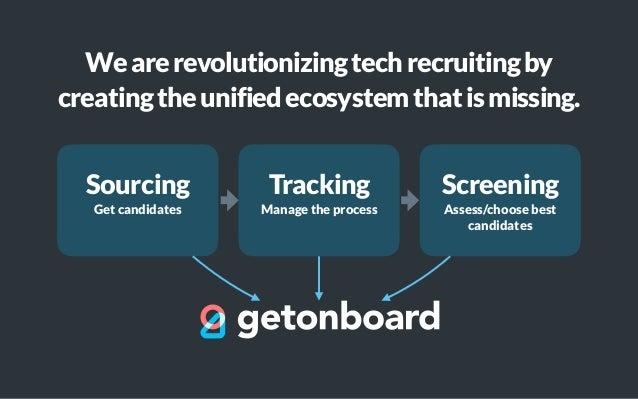 Sourcing Get candidates Tracking Manage the process Screening Assess/choose best candidates Wearerevolutionizingtechrecrui...