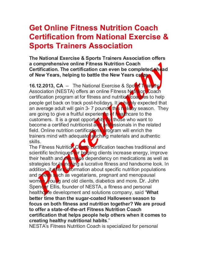Get Online Fitness Nutrition Coach Certification From National Exerci