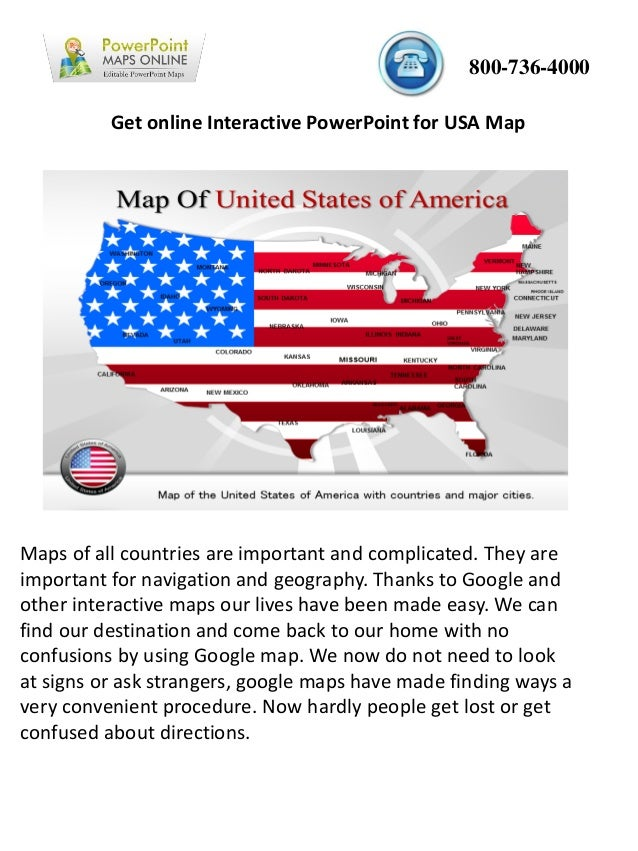 Get online Interactive PowerPoint for USA Map