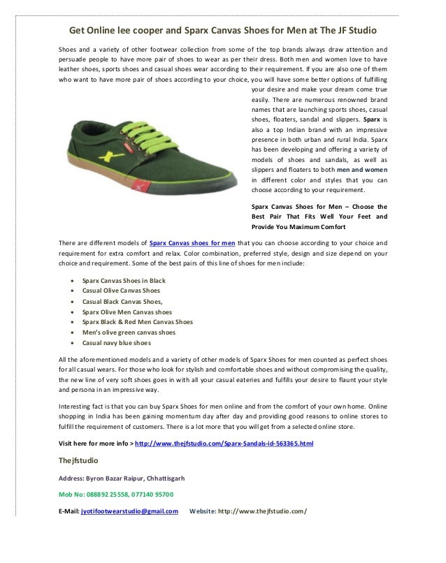 Sparx Canvas Shoes for Men at The JF Studio