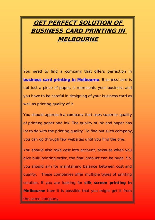 Get perfect solution of business card printing in melbourne