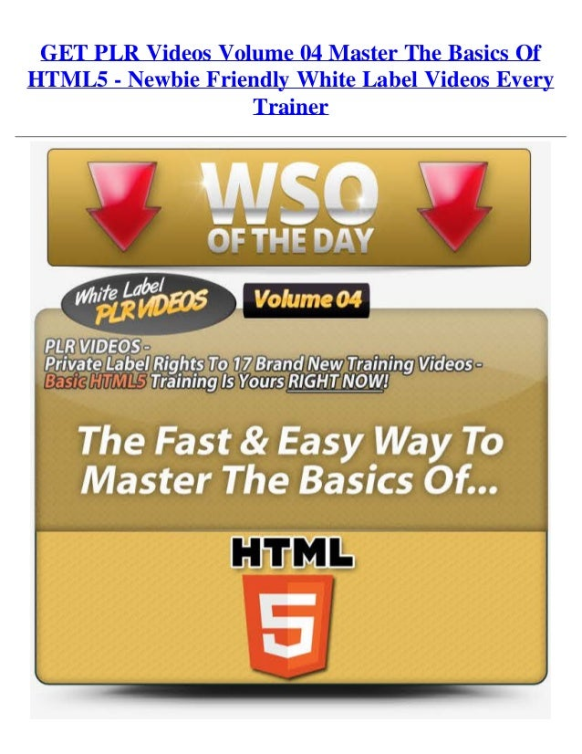 GET PLR Videos Volume 04 Master The Basics OfHTML5 - Newbie Friendly White Label Videos EveryTrainer