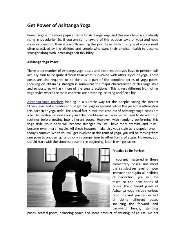 Get Power Of Ashtanga Yoga Is The More Popular Term For And