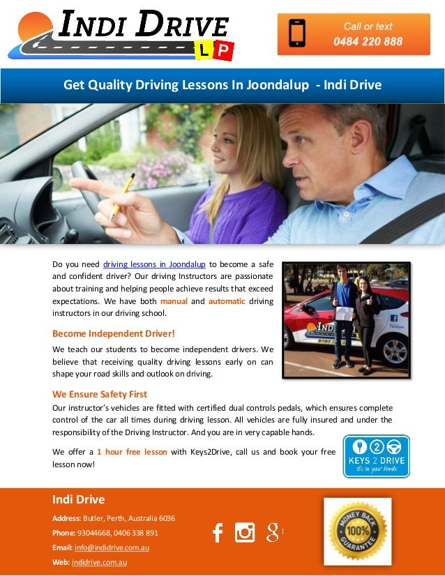get quality driving lessons in joondalup indi drive rh slideshare net Driving Instructor Course Driving Lessons Offers