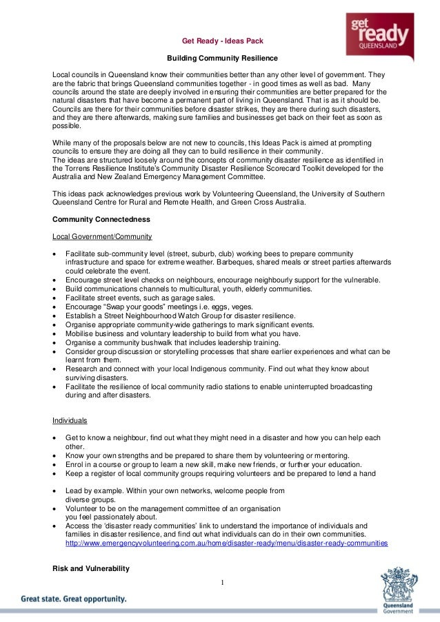 1 Get Ready - Ideas Pack Building Community Resilience Local councils in Queensland know their communities better than any...