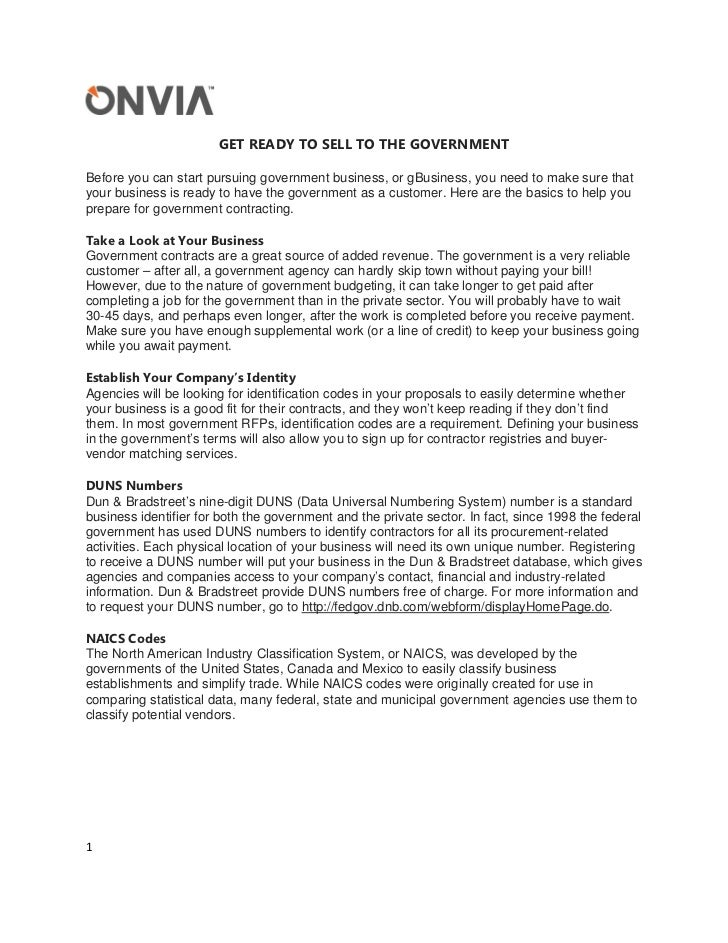 GET READY TO SELL TO THE GOVERNMENTBefore you can start pursuing government business, or gBusiness, you need to make sure ...