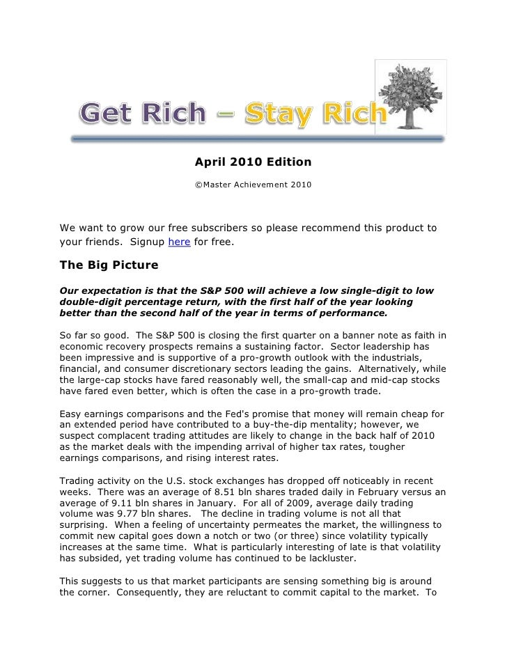 April 2010 Edition                               ©Master Achievement 2010     We want to grow our free subscribers so plea...