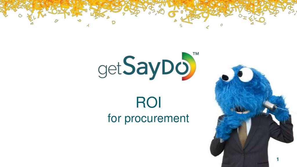 getSayDo - ROI for Procurement users