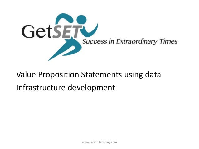 Value Proposition Statements using data Infrastructure development www.create-learning.com