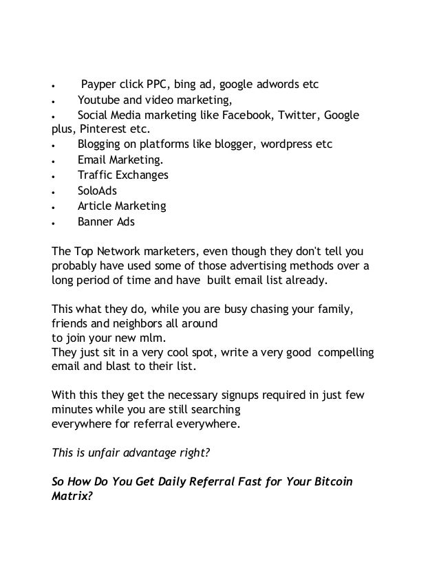 How to get daily referrals fast for bitcoin matrix or other mlm with 4 ccuart Image collections
