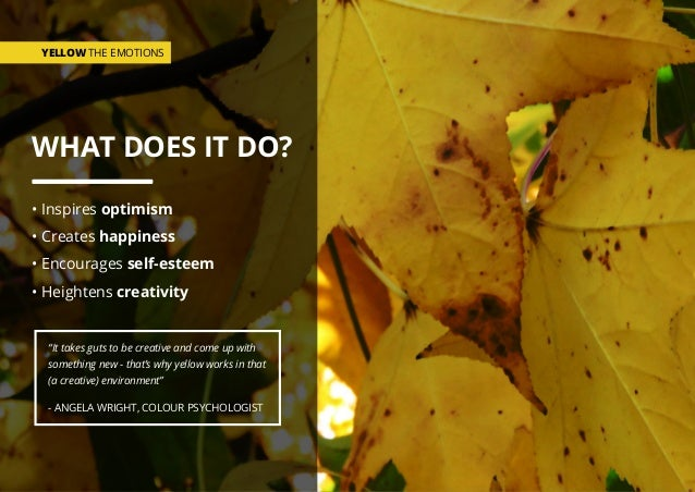 WHAT DOES IT DO? • Inspires optimism • Creates happiness • Encourages self-esteem • Heightens creativity YELLOW THE EMOTIO...