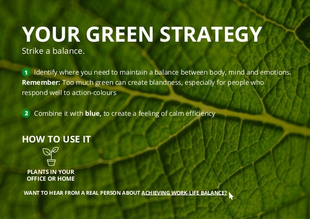 YOUR GREEN STRATEGY Strike a balance. 1 Identify where you need to maintain a balance between body, mind and emotions. Rem...