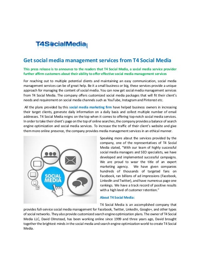 Get social media management services from t4 social media