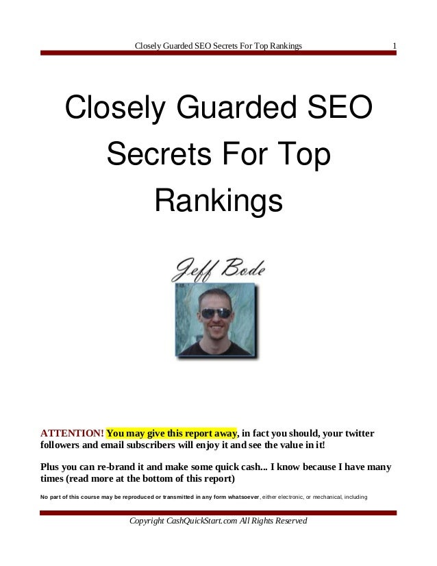 Closely Guarded SEO Secrets For Top Rankings                                               1        CloselyGuardedSEO  ...
