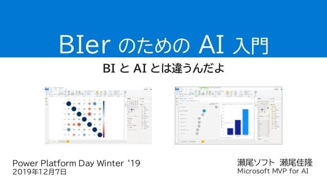 瀬尾ソフト 瀬尾佳隆 Microsoft MVP for AI BIer のための AI 入門 BI と AI とは違うんだよ Power Platform Day Winter '19 2019年12月7日