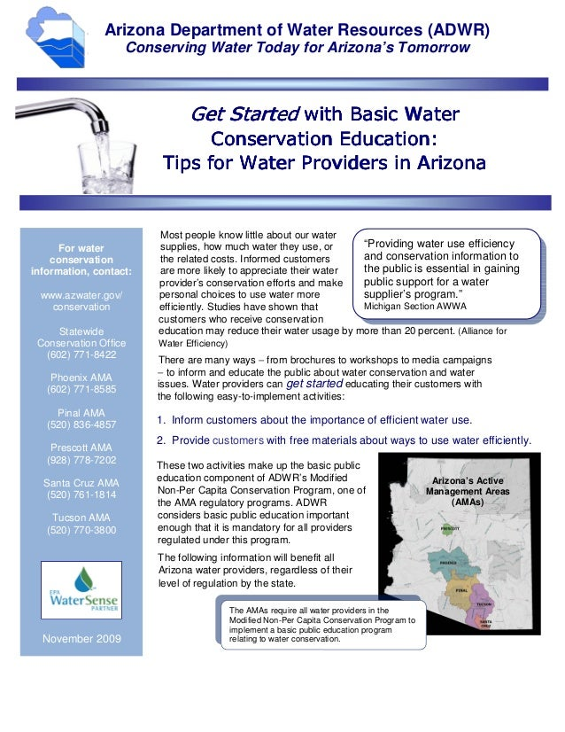 Arizona Department of Water Resources (ADWR)                    Conserving Water Today for Arizona's Tomorrow             ...