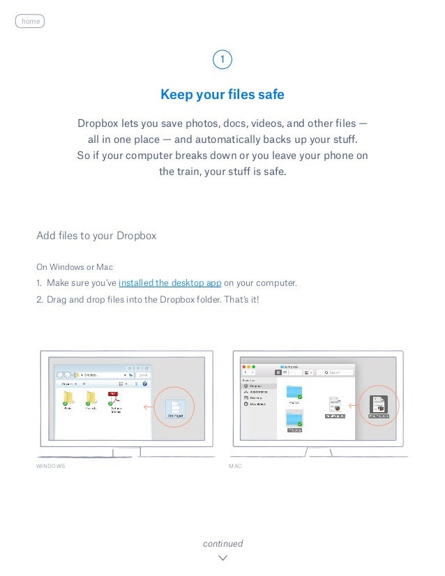 Keep your files safe Dropbox lets you save photos, docs, videos, and other files — all in one place — and automatically ba...