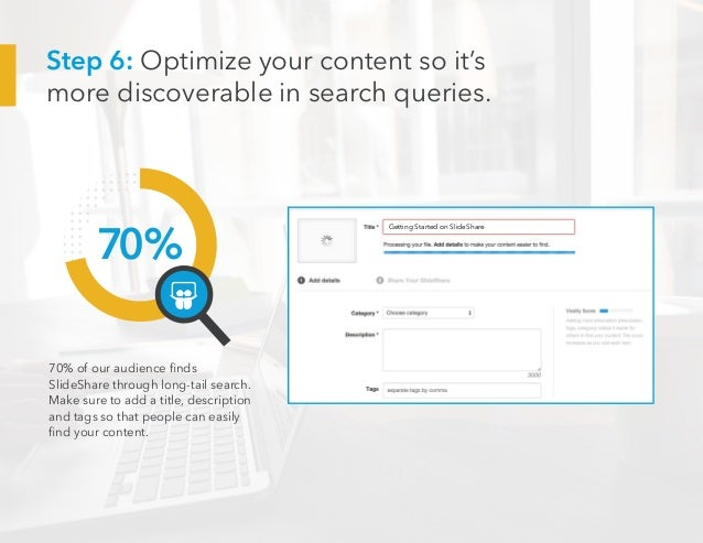 70% 70% of our audience finds SlideShare through long-tail search. Make sure to add a title, description and tags so that ...