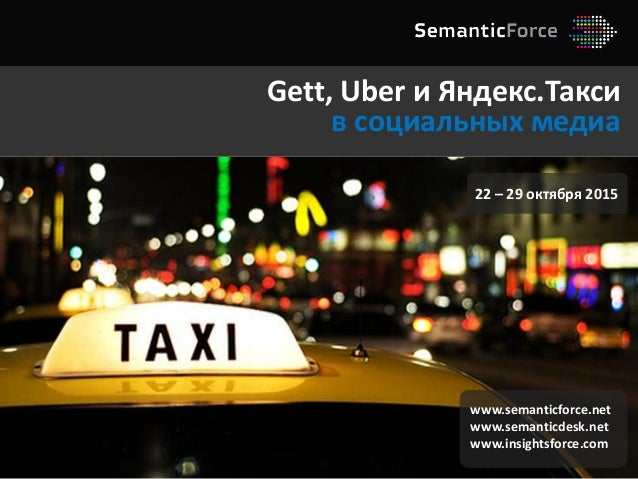 Gett, Uber и Яндекс.Такси в социальных медиа www.semanticforce.net www.semanticdesk.net www.insightsforce.com 22 – 29 октя...