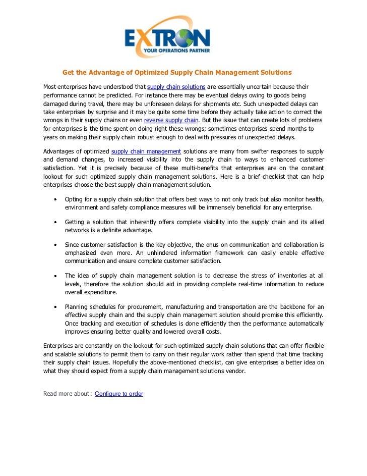 advantages of supply chain management pdf