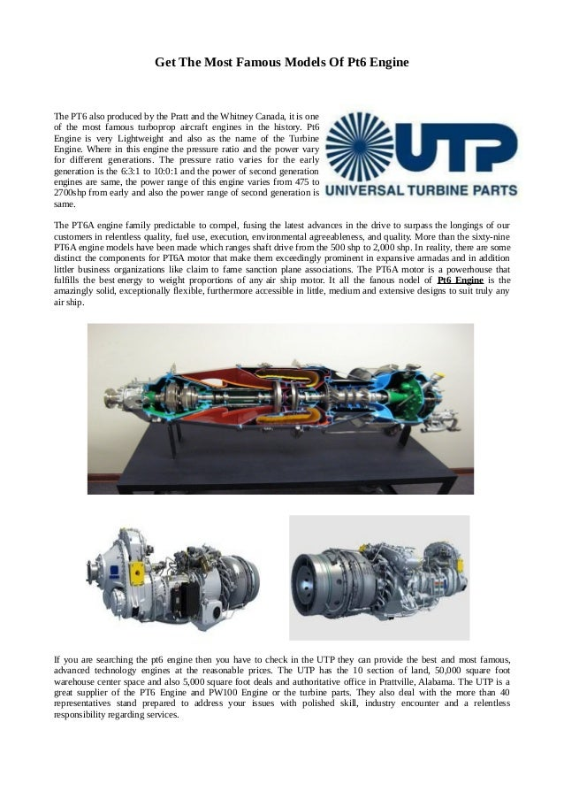 Get the most famous models of pt6 engine