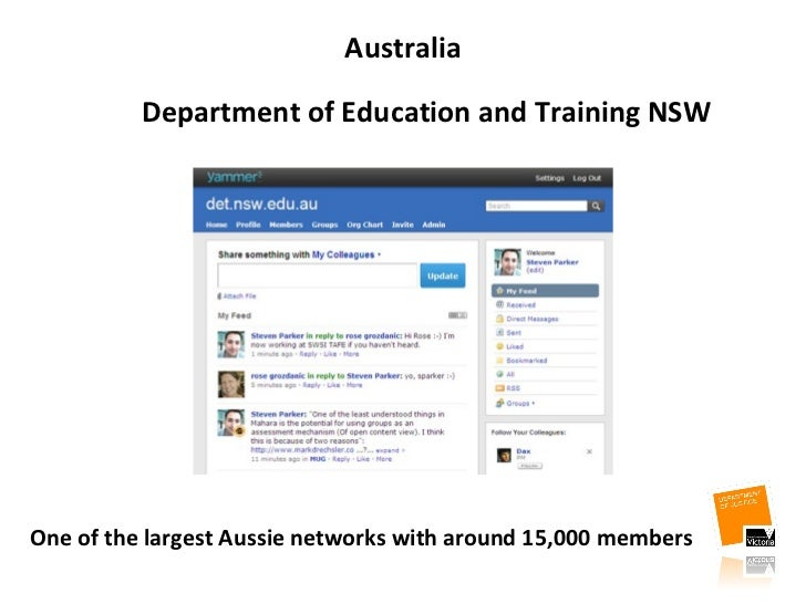Australia <ul><li>One of the largest Aussie networks with around 15,000 members </li></ul>Department of Education and Tra...