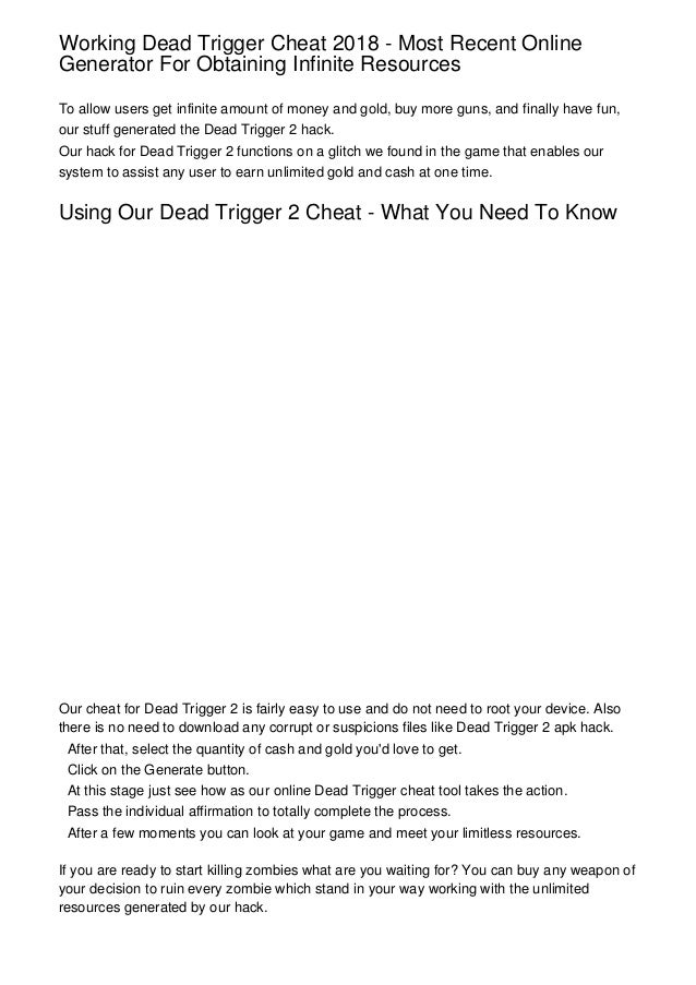 dead trigger 1 hack