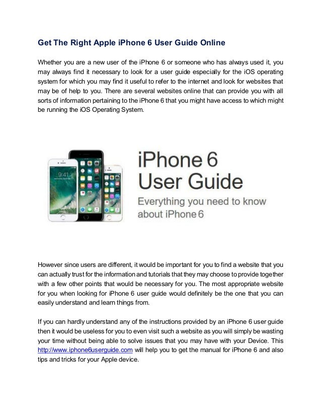 Get The Right Apple Iphone 6 User Guide Online