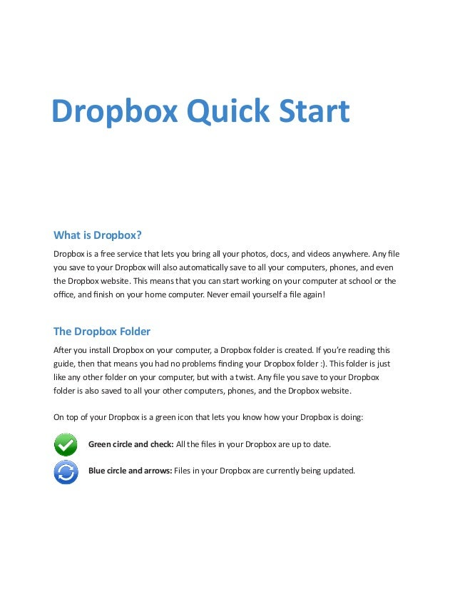 What is Dropbox?Dropbox is a free service that lets you bring all your photos, docs, and videos anywhere. Any fileyou save...