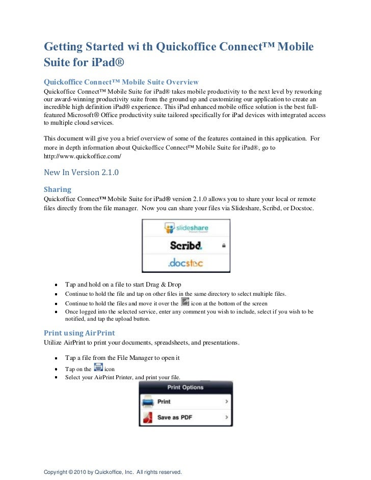 Getting Started wi th Quickoffice Connect™ Mobile Suite for iPad®<br />Quickoffice Connect™ Mobile Suite Overview<br />Qui...