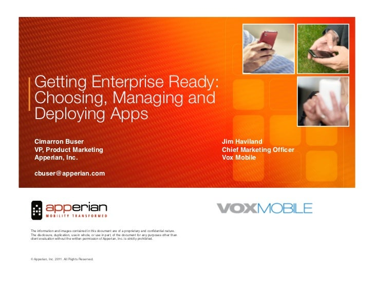 Getting Enterprise Ready:  Choosing, Managing and  Deploying Apps   Cimarron Buser       !                                ...