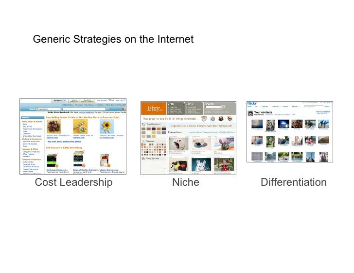 Generic Strategies on the Internet     Cost Leadership              Niche   Differentiation