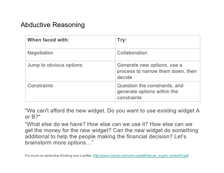 Abductive Reasoning    When faced with:                                        Try:    Negotiation                        ...