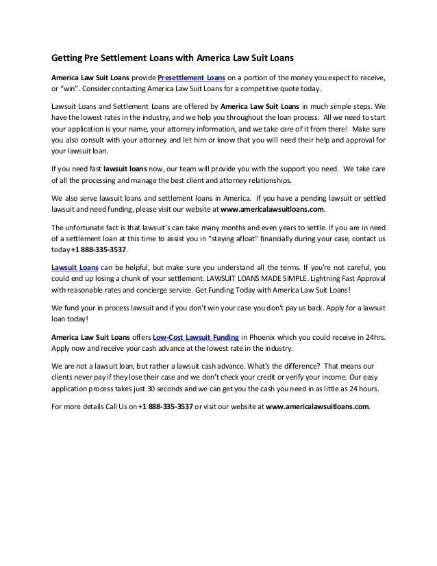 Getting Presettlement Loans