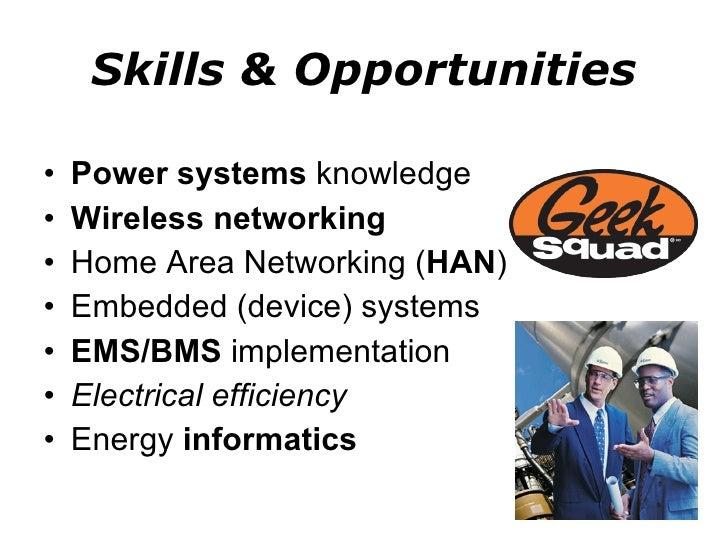 Skills & Opportunities <ul><li>Power systems  knowledge </li></ul><ul><li>Wireless networking </li></ul><ul><li>Home Area ...