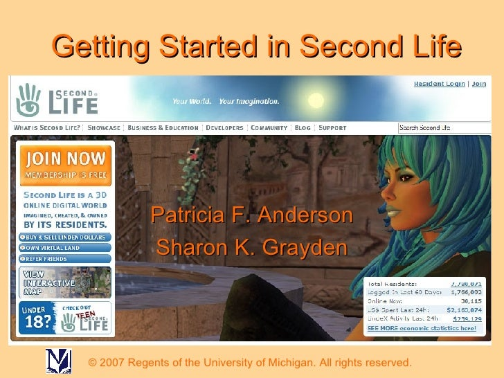 Getting Started in Second Life Patricia F. Anderson Sharon K. Grayden © 2007 Regents of the University of Michigan. All ri...