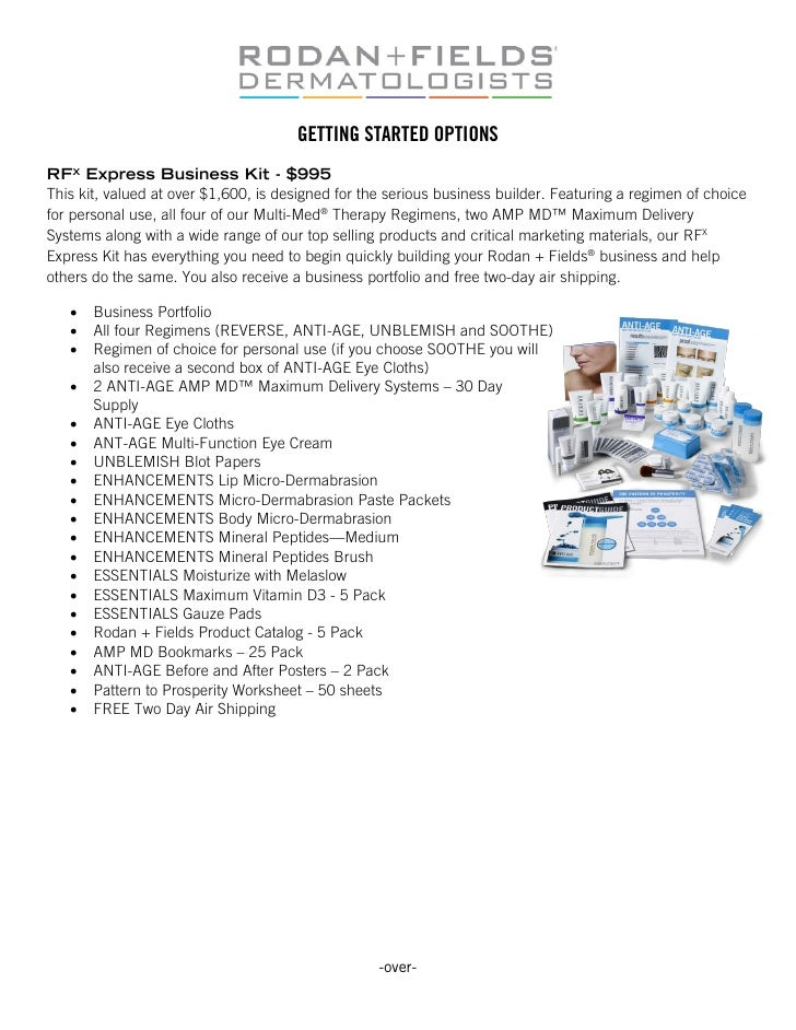 GETTING STARTED OPTIONSRFX Express Business Kit - $995This kit, valued at over $1,600, is designed for the serious busines...