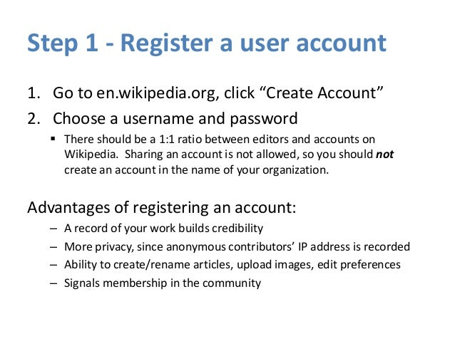 """Step 3 - Create a user page 1. Click the link at the top with your username on it. 2. """"Hello world"""" and click SAVE. Leave ..."""