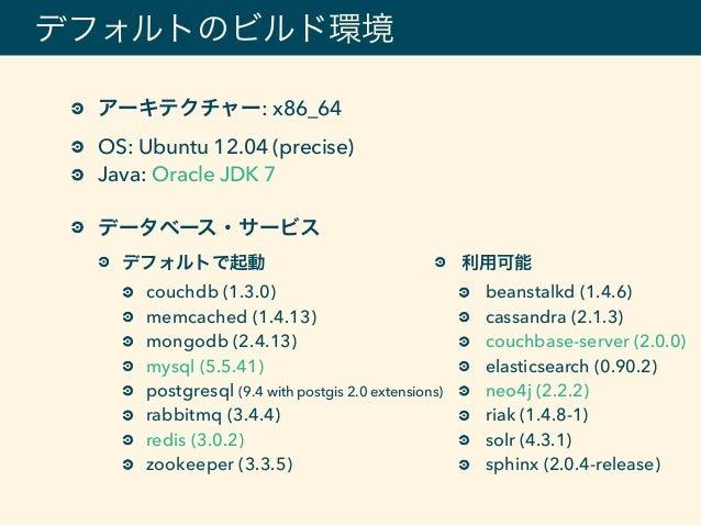 デフォルトのビルド環境 アーキテクチャー: x86_64 OS: Ubuntu 12.04 (precise) Java: Oracle JDK 7 データベース・サービス デフォルトで起動 couchdb (1.3.0) memcached...