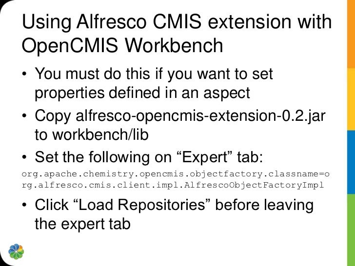 CMIS in server-side JavaScript*varcmisConnection = cmis.getConnection();varcmisSession    = cmisConnection.getSession();fo...