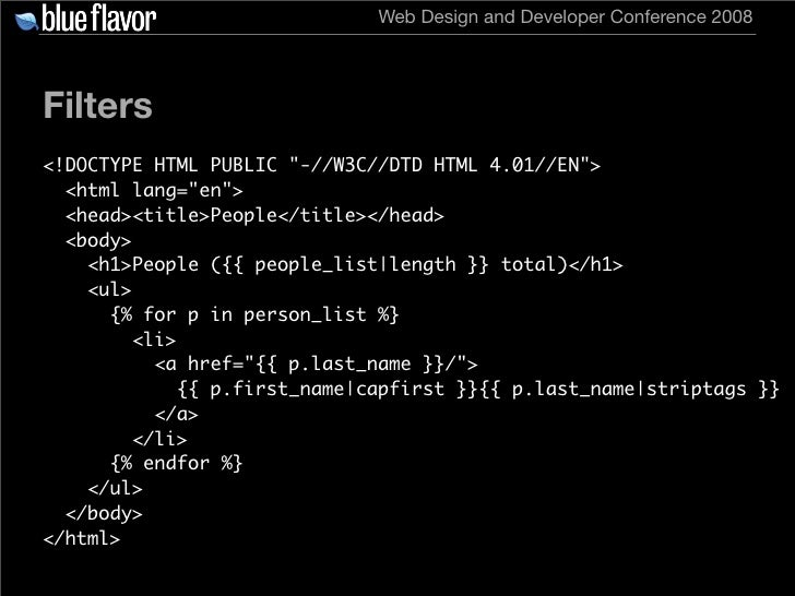 Web Design and Developer Conference 2008     Filters <!DOCTYPE HTML PUBLIC quot;-//W3C//DTD HTML 4.01//ENquot;>   <html la...