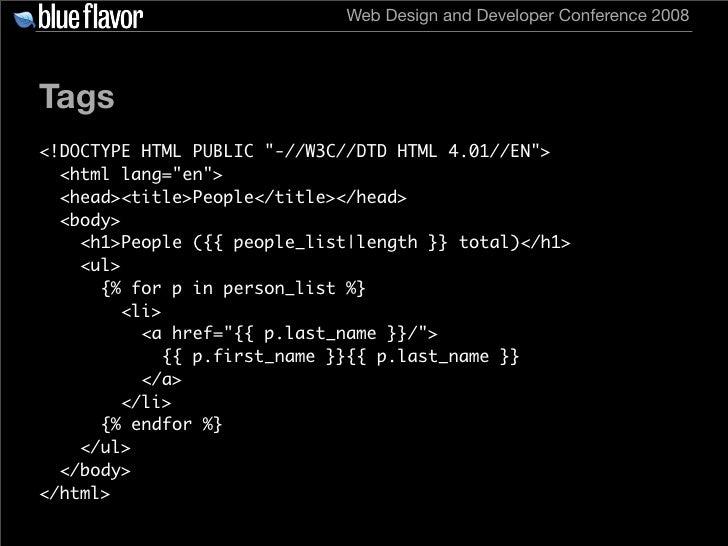 Web Design and Developer Conference 2008     Tags <!DOCTYPE HTML PUBLIC quot;-//W3C//DTD HTML 4.01//ENquot;>   <html lang=...