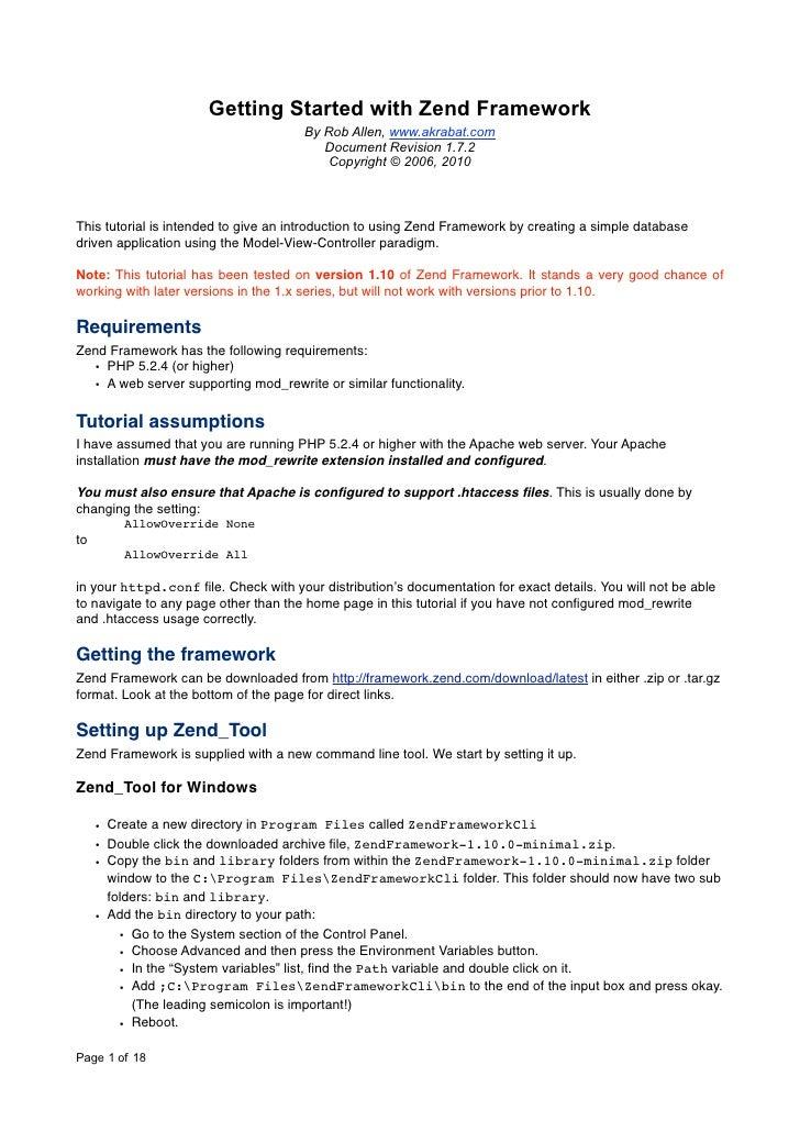 Getting Started with Zend Framework                                       By Rob Allen, www.akrabat.com                   ...